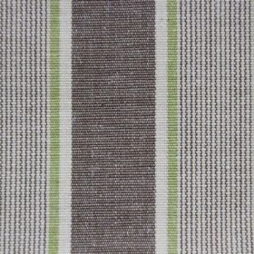 Rapino - Lime - Cotton fabric featuring stripes in white, light green and brown with a slight grey tinge