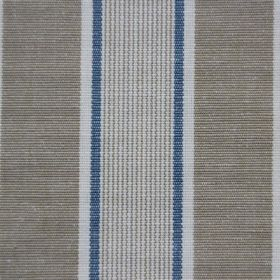Rapino - French Navy - White, blue and grey-beige cotton fabric with both narrow and wide stripes