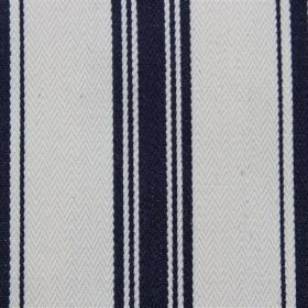 Pyrenees - Yacht - White cotton fabric with stripes in a very dark shade of blue which appears to be almost black