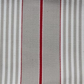 Rimini - Dove - Stripes of light grey and blood red on a cotton fabric background