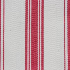 Pyrenees - Petal - Cotton fabric with a bight red and milk white coloured stripe design