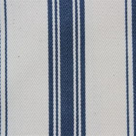 Pyrenees - Marine - Nautical style navy blue and white striped cotton fabric