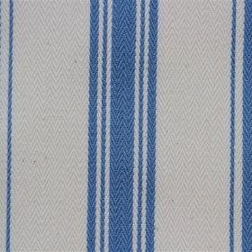 Pyrenees - French Blue - Classic cobalt blue stripe pattern on an off-white cotton fabric background