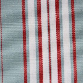 Plato - Sky - Duck egg blue, crisp white and bright red striped cotton fabric