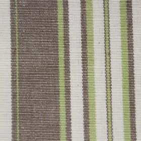 Plato - Lime - Dark brown-grey, light green and off-white stripes of different widths printed onto cotton fabric