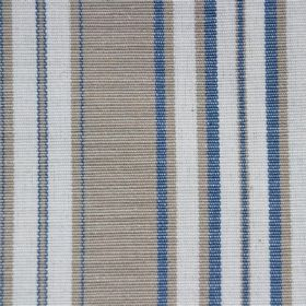 Plato - French Blue - Cotton fabric with white, blue and grey-beige stripes, all with different widths