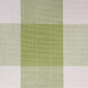 Lusanne - Vert - Grass green and off-white coloured checked fabric detail