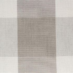 Lusanne - Taupe - Checked cotton fabric with wide bands of grey and off-white