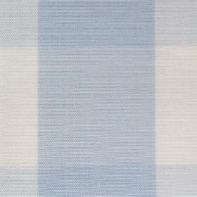 Lusanne - Sky - Wide checked baby blue and white cotton fabric