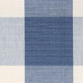 Lusanne - Marine - Cotton fabric with plain blue and off-white check detail