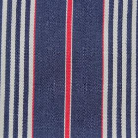 Rimini - Club - Denim blue coloured stripes interspersed with red and white, on cotton fabric