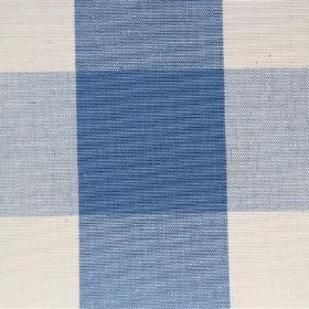 Lusanne - French Blue - Close-up of bright blue and off-white checked cotton fabric