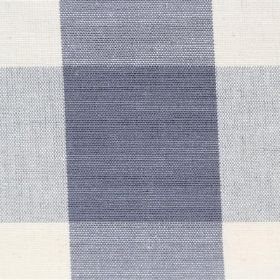 Lusanne - Ash - Detail of a cotton fabric which has a wide white and light blue-grey check pattern