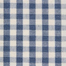 Rasuro - Venice Blue - Off-white cotton fabric with a checked print in several shades of dark blue