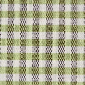 Rasuro - Lime Chocolate - Dotted dark brown vertical stripes over solid light green vertical stripes on a white cotton fabric background