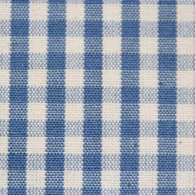 Rasuro - French Navy - Cotton fabric covered in a checked pattern in shades of blue and cream