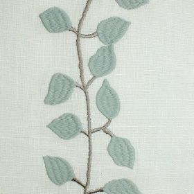 Isla - Pistachio - Duck egg blue leaves and a grey vine embroidered on a linen fabric in plain white