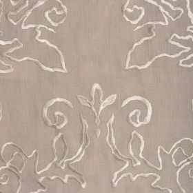 Tuscany - Light Grey - Cream coloured embroidered swirls on linen fabric in a light shade of brown