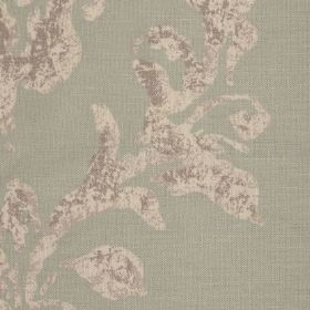 Venice - Teal - Plain light green linen fabric patterned with a swirl design in light brown mottled with dark brown