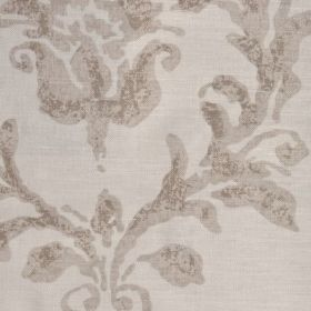 Venice - Clay - Linen fabric in a light creamy brown colour, with a darker brown pattern with a distressed effect printed on top