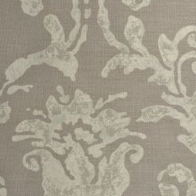 Venice - Elephant - Grey-green distressed effect pattern printed on plain linen fabric in light brown-grey