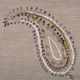 Odalisque - Plum - Linen fabric in light brown, with grey, white, green and purple paisley shapes embroidered on
