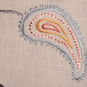 Odalisque - Burnt Clay - Grey-beige linen fabric with paisley embroidery in blue, grey, white, orange and mustard yellow