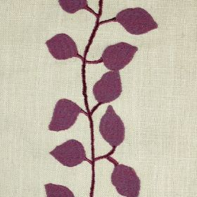 Isla - Cerise - Cream coloured linen fabric with a row of embroidered purple leaves running down it