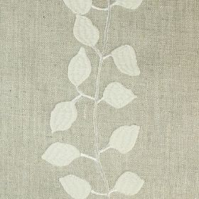 Isla - Elephant - A row of cream leaves and a vine embroidered to run down a pale grey linen fabric
