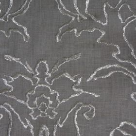 Tuscany - Silver Dove - Dark grey linen fabric with a design embroidered on top in shimmering silver thread