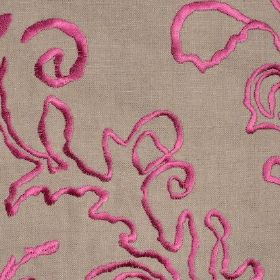 Tuscany - Cerise - Bright pink embroidered pattern on coffee coloured linen fabric