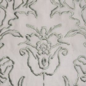 Tuscany - Pistachio On Ivory - Very pale grey fabric with pale green embroidered patterns on top