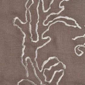 Tuscany - Walnut - Brown linen fabric with cream patterned embroidery