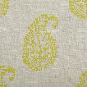 Umbria - Clay - Simple lime green coloured paisley shapes printed on a background of light grey coloured fabric
