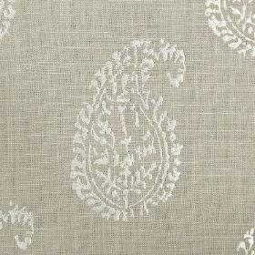 Umbria - Dove - Fabric woven from light grey and white threads, which has been printed with simple paisley shapes in white