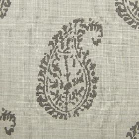 Umbria - Pebble - Paisley shapes in dark grey printed on a light grey and cream woven fabric background