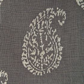 Umbria - Shimmer - Plain light grey paisley shapes printed on fabric in a dark grey colour