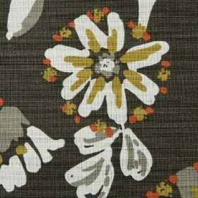 Amelia - Sienna - Olive green, burnt orange, white and grey as the colours for the simple floral pattern on this black fabric