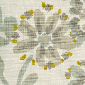 Amelia - Pistachio - Beige fabric printed with a design of simple flowers in several different shades of green and grey