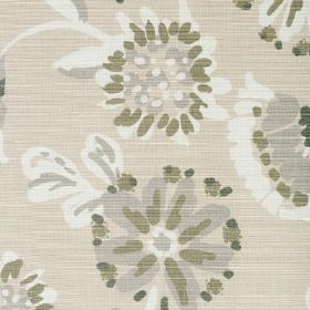 Amelia - Dove - Grey, olive green and white flowers printed on a beige fabric background