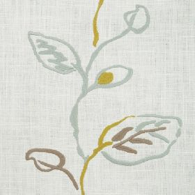 Martana - Pistachio - Very pale grey fabric with a vertical pattern of messy, line drawn leaves & stems in duck egg blue, olive green & brow