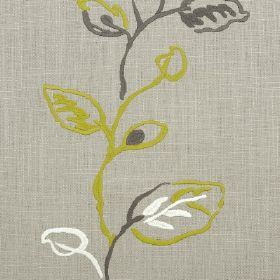Martana - Clay - Messy leaves and stems running vertically down light grey fabric in dark grey, grass green and white