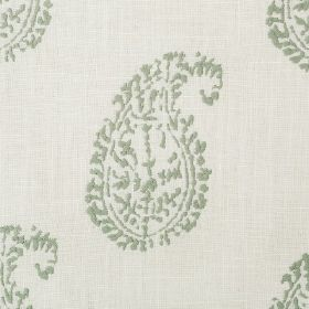 Umbria - Pistachio - Very pale grey and dusky green coloured fabric with a plain background and a very simple paisley shape pattern