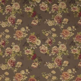 English Rose - Chocolate - Small, vintage inspired flowers, mainly in shades of cream and dark purple, on a dark grey fabric background