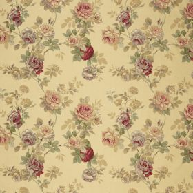 English Rose - Gold - Floral fabric with a vintage feel, in colours such as pale yellow, cream, dark red, beige and dusky green