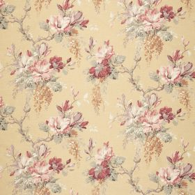 Maya - Sand - Fabric in a light gold colour, with a pink, red, grey-green, light brown and gold-orange coloured floral pattern