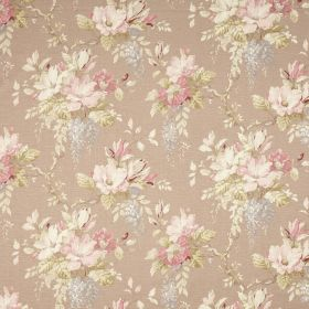 Maya - Coffee - Light brown fabric printed with bunches of flowers in pastel shades of pink, green, blue and cream