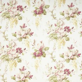 Maya - Off White - Bunches of purple, off-white, light yellow and green flowers and leaves printed on white fabric
