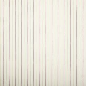 Nina - Ivory - White fabric featuring a regular striped pattern of alternating light green and pink-purple lines