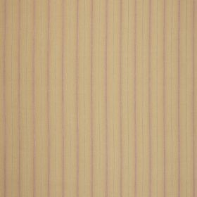 Nina - Antique - Very narrow grey and light purple lines printed vertically ongold-brown coloured fabric
